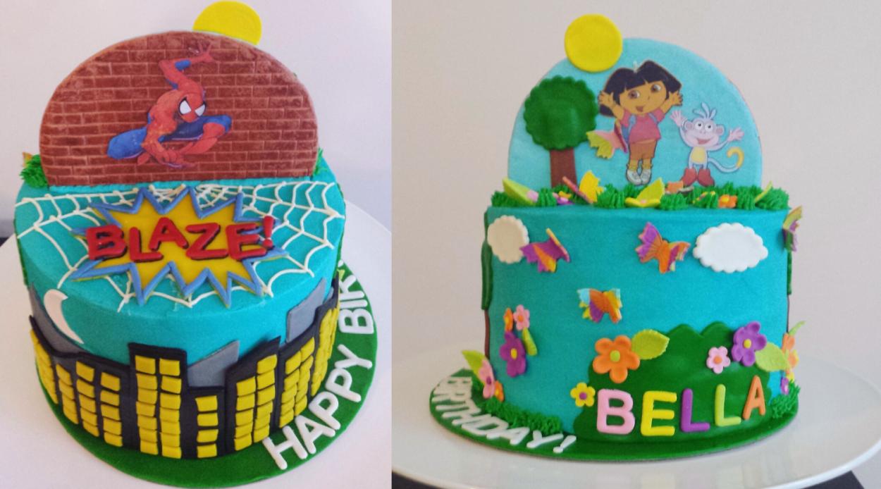 The Dora Meets Spiderman split cake Anita of Cake