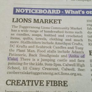 A mention in the Sunday Canberra Times newspaper