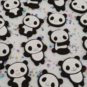 Chocolate panda sugar cookies