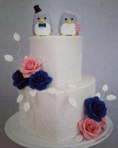 A cute wedding cake, with florals colour matched with florals at event.