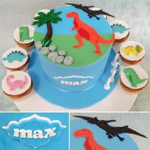 Dinosaur themed cake and cupcakes