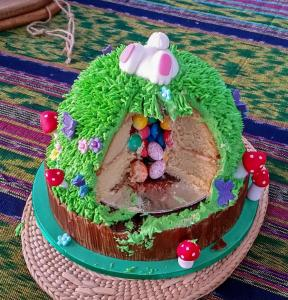 Easter celebration cake - with surprise speckled eggs