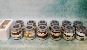 Assortment of cakes in a jar