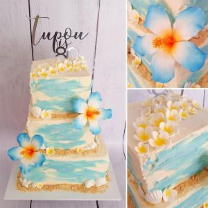 Hawaii themed birthday cake