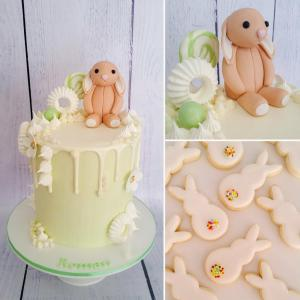 Bunny themed first birthday cake and matching sugar cookies