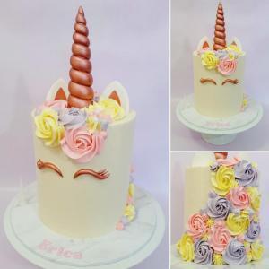 Rose Gold and pastel unicorn cake