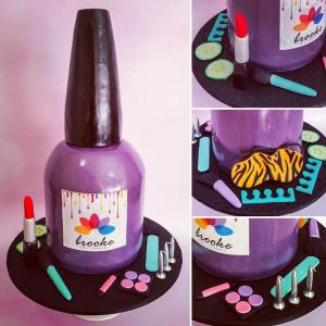 "40cm (16"") high nail polish bottle cake"
