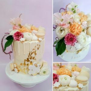 La Ombre Creations inspired semi-naked drip cake with fresh florals