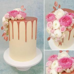 Rose Gold drip cake with fresh florals