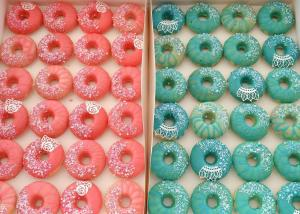 Mix of donuts for a gender reveal party.