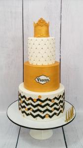 Black, white and gold themed birthday cake.