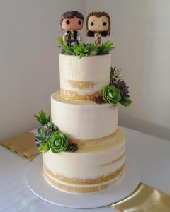 Semi naked succulent wedding cake with Star Wars toppers