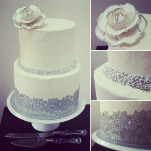 Simple and elegant - Silver and white themed cake