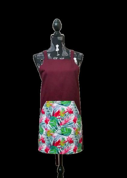 Fernylicious with burgundy standard apron