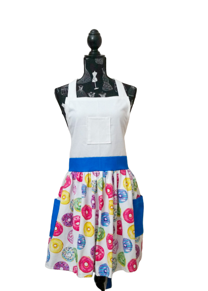 Donut Delight with blue deluxe apron