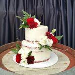 Red velvet semi-naked cake with fresh florals