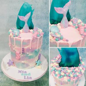 Mermaid themed drip cake