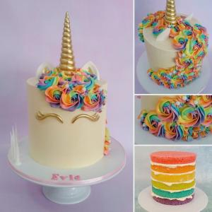 Rainbow layered unicorn cake