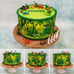 Reptile themed birthday cake