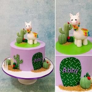 Alpaca cactus birthday cake