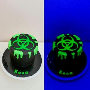Glow-in-the-dark bio-hazard cake