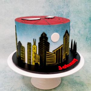 Spiderman themed cake - side view