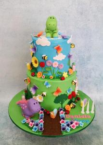 Dinosaurs in the Garden themed cake