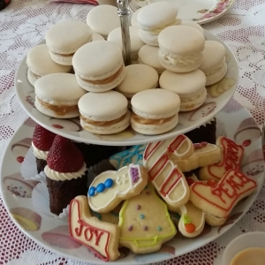 A selection of macarons and shortbread.